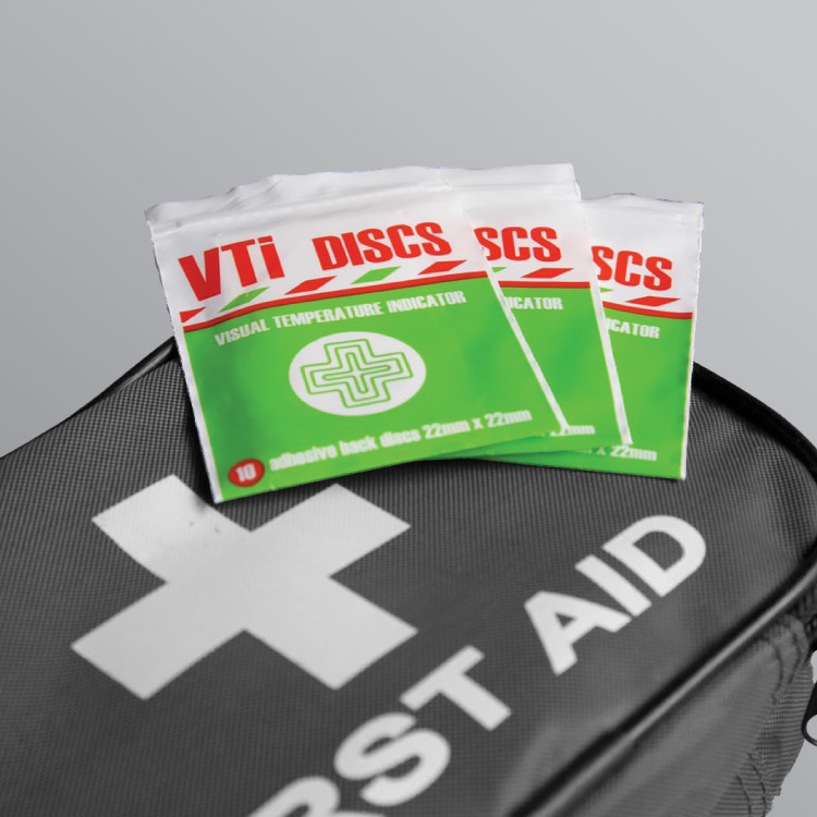 Visual temperature indicator disc are ideal for you first aid box